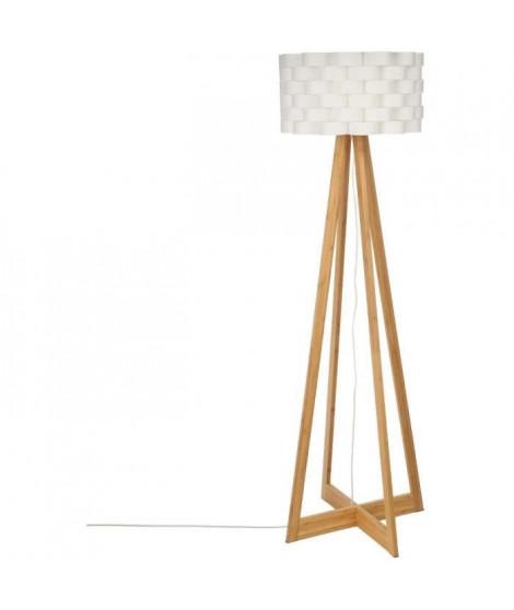 Lampadaire en bambou - E27 - 60 W - H. 150 cm - Blanc