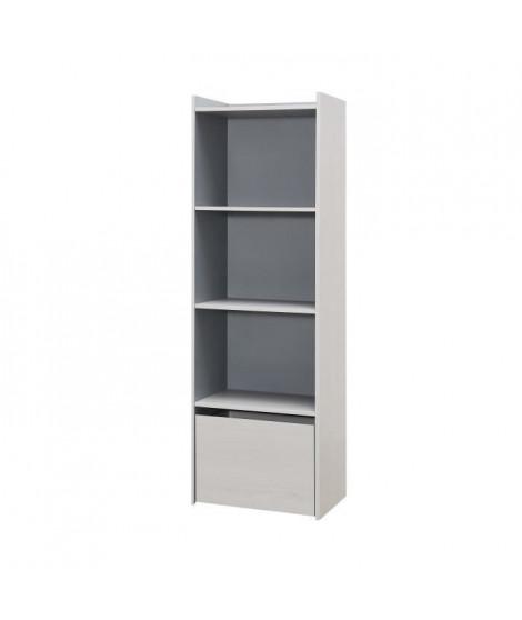 IGLOO Bibliotheque - 1 tiroir et 3 étageres - Décor Chene Clair/Gris - L51,6 x P35 x H161 cm