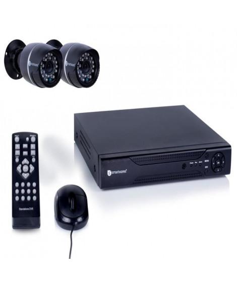 SMARTWARES Kit de surveillance filaire avec enregistreur 4 canaux 500Gb de stockage et 2 caméras bullet DVR524S