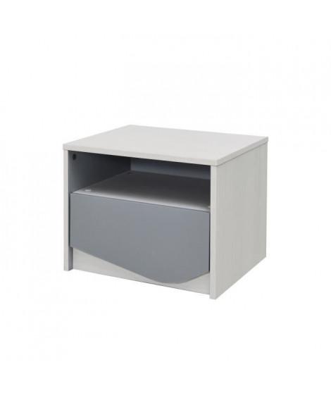 IGLOO Table de chevet enfant - 1 Tiroir - Décor Chene Clair/Gris - L45,5 x P35 x H35 cm