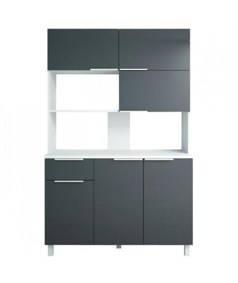 LOVA Buffet de cuisine contemporain gris brillant - L 120 cm