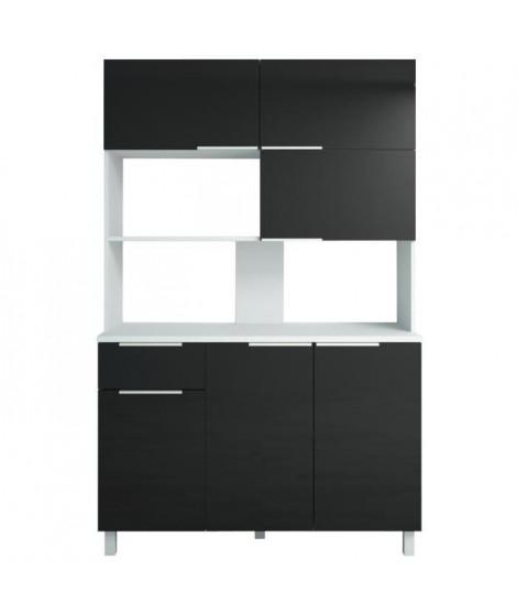 LOVA Buffet de cuisine contemporain noir brillant - L 120 cm