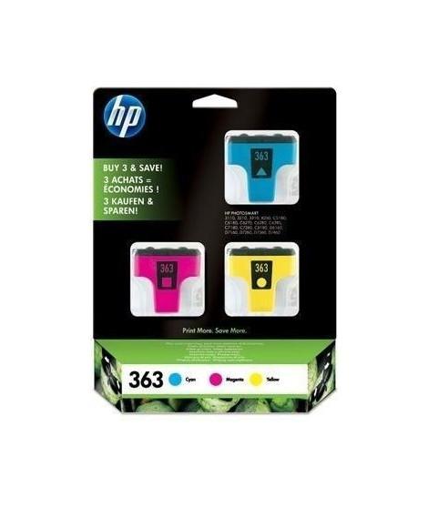 HP 363 pack de 3 cartouches d'encre cyan/magenta/jaune authentiques pour HP Photosmart C5190/C6180/C6270/C7280 (CB333EE)