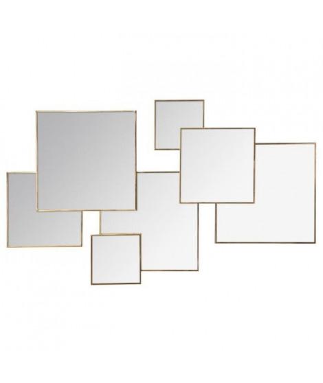 Miroir multi carrés - 61 x 37 cm - Doré