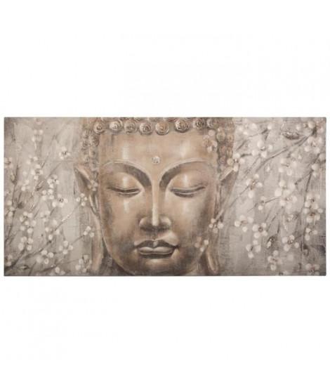 Toile peinte Bouddha- 58 x 118 cm - Gris