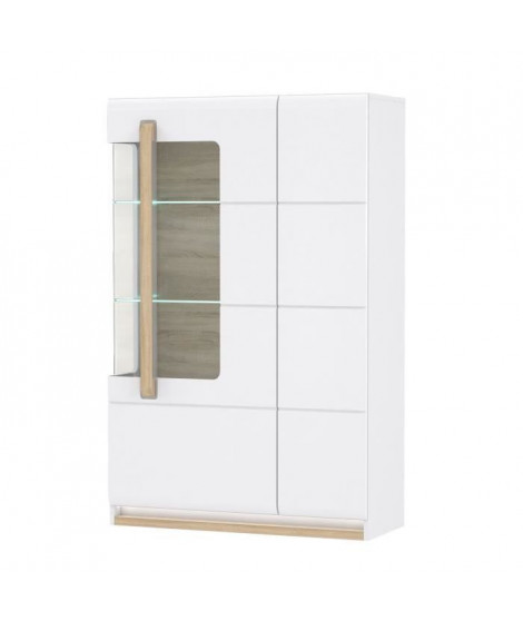 HELSINKI Vitrine 1 porte vitrée - Décor chene gris - 89,9 x 139,6 x 34,2 cm