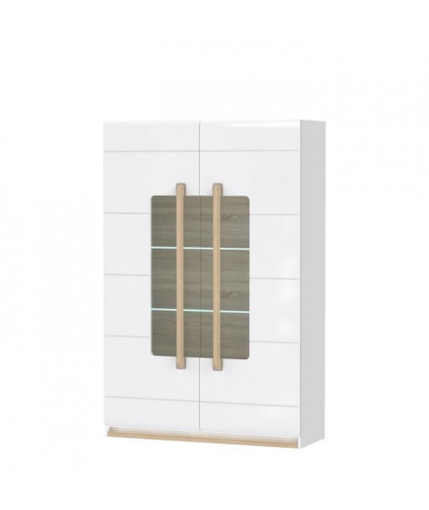 ATTENTION Vitrine 2 portes vitrées - Décor chene gris - 119,9 x 180,5 x 41,4 cm
