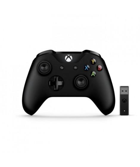 Manette Xbox One + Adaptateur Sans Fil pour Windows 10 - Noire
