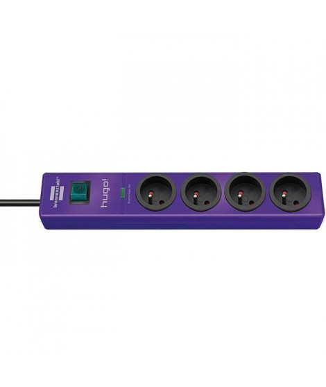 Brennenstuhl Hugo Socle Rallonge Multiprise Parasurtenseur Violet 4 Prises 2m 19500A