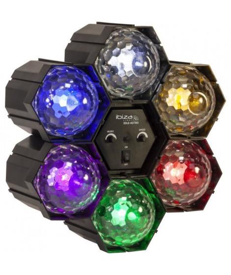 IBIZA LIGHT 15-1308 Séquenceur de lumiere avec 6 Astros a LED (Rouge, vert, bleu, blanc, pourpre et jaune)