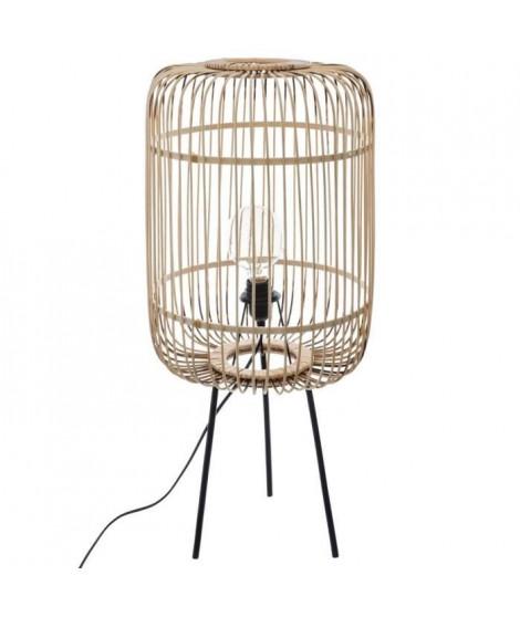Lampadaire trépied en bambou - H 73,5 cm - Beige