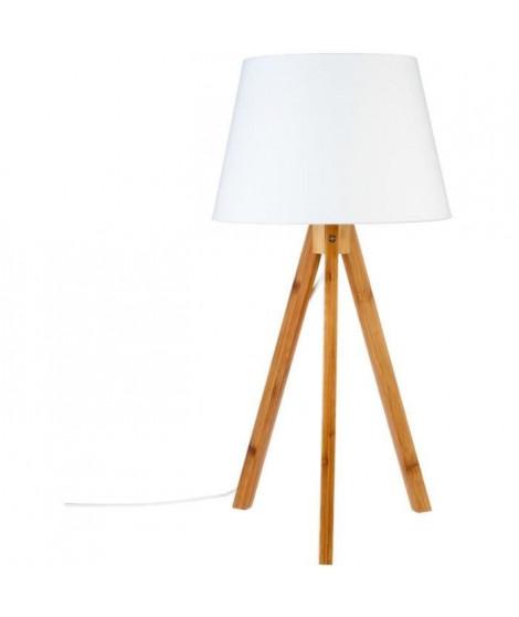 Lampe trépied - E14 - 40 W - H. 55,5 cm - Blanc