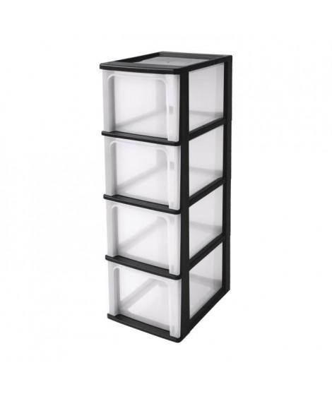 IRIS OHYAMA Tour de rangement 4 tiroirs - Plastique - Noir - 52 L - 35,5 x 26 x 80 cm
