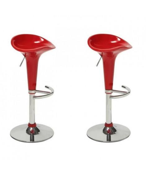 POP Lot de 2 tabourets de bar rouge - Contemporain - L 44 x P 47 cm