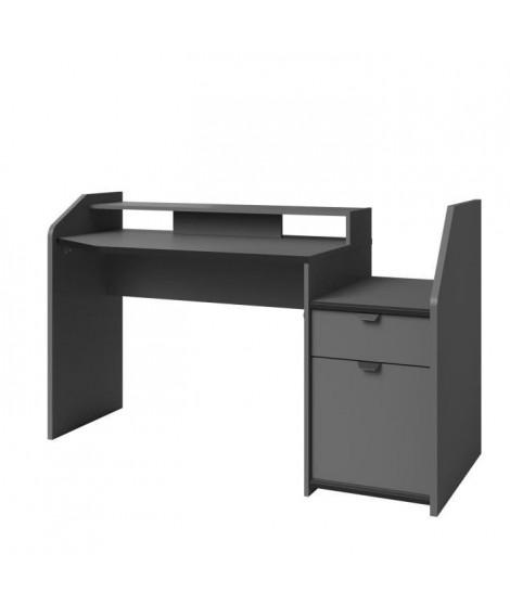 GAMING Bureau de jeu - Décor gris et noir - L 154 x P 92 x H 68 cm