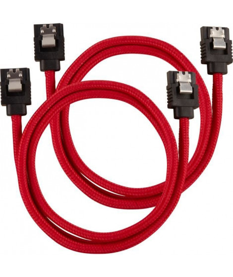 CORSAIR Câble gainé Premium SATA 6Gbps Rouge - 60cm Droit - (CC-8900254)