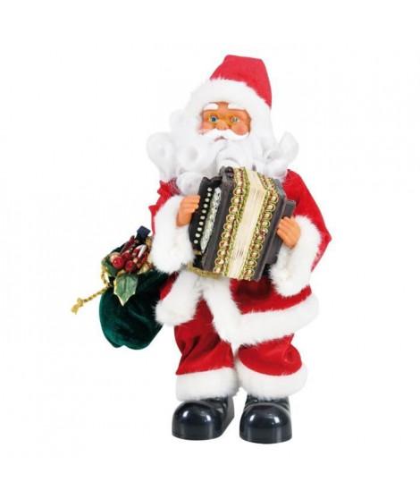 Personnage de Noël Pere Noël automate musical Rouge H30 cm