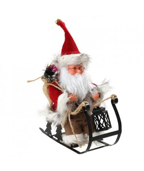 Personnage de Noël : Pere Noël automate sur luge - H 25 x 24,5 x 10 cm - Rouge et blanc