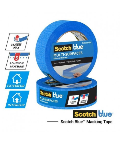3M Ruban de Masquage Multi-Surfaces ScotchBlue - Bleu - 41mx36mm