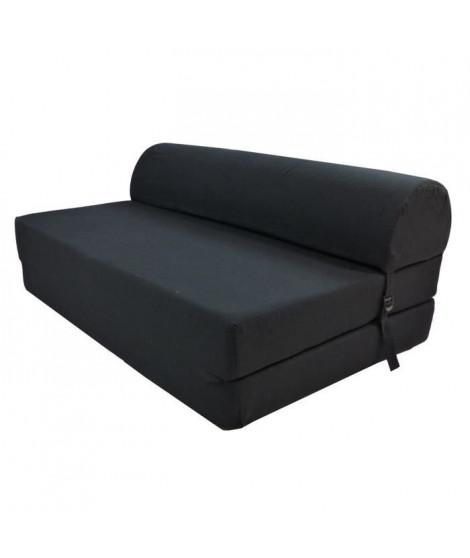 JUNE Chauffeuse 2 places - Tissu noir - Style contemporain - L 115 x P 75 cm