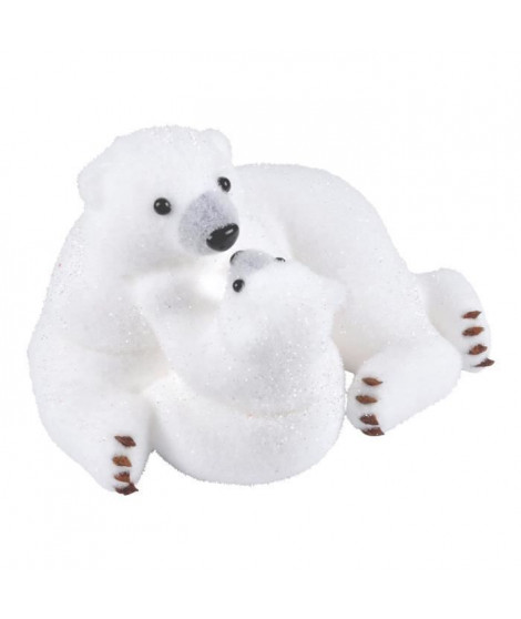 AUTOUR DE MINUIT Maman ours avec ourson - H 19,5cm