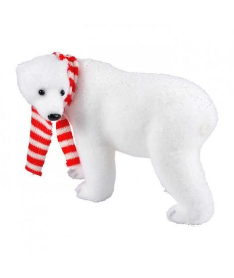 AUTOUR DE MINUIT Ours avec écharpe blanc et rouge - H 18cm