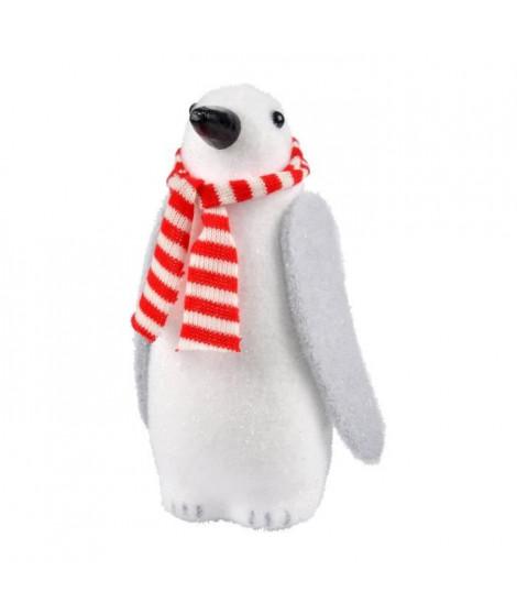 AUTOUR DE MINUIT Pingouin avec écharpe blanc et rouge - H 28,5cm