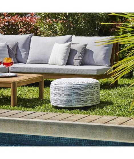 Pouf gonflable jardin Bocarnea - Assise 53 cm - Revetement spun polyester 200 mg - Motif ethnique noir et blanc