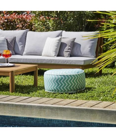 Pouf gonflable jardin Bocarnea - Assise 53 cm - Revetement spun polyester 200 mg - Motif rayures vert d'eau