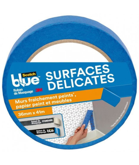 3M Ruban de Masquage pour Surfaces Délicates ScotchBlue - Bleu - 41mx36mm