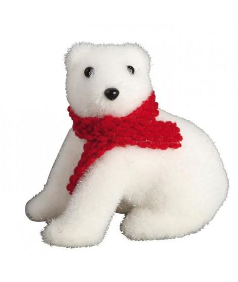 Animaux de Noël : Ours assis avec écharpe - H 11 x 11 cm - Blanc et rouge
