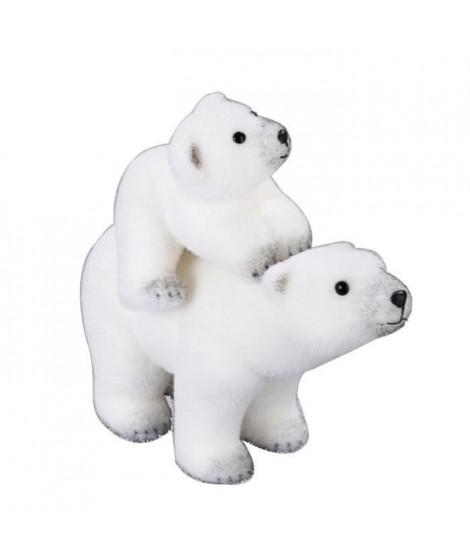 Animaux de Noël : Maman et bébé ours - H 30 x l 36 x 17 cm - Blanc