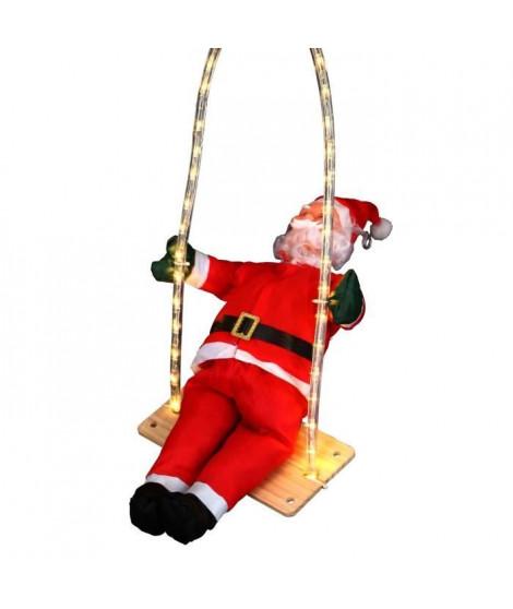 Personnage de Noël Pere Noël grimpeur sur balançoire lumineuse 60cm