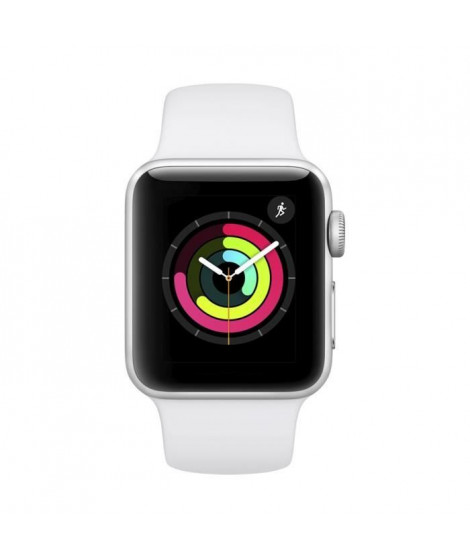 AppleWatch Series3 GPS, 38mm Boîtier en aluminium argenté avec bracelet de sport blanc
