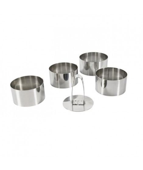 EQUINOX Lot de 4 emportes pieces + 1 poussoir 8 cm gris