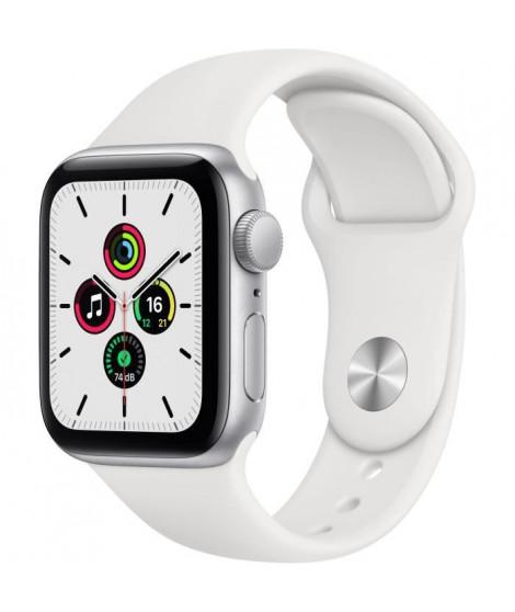 Apple Watch SE GPS, 40mm Boîtier en Aluminium Argent avec Bracelet Sport Blanc