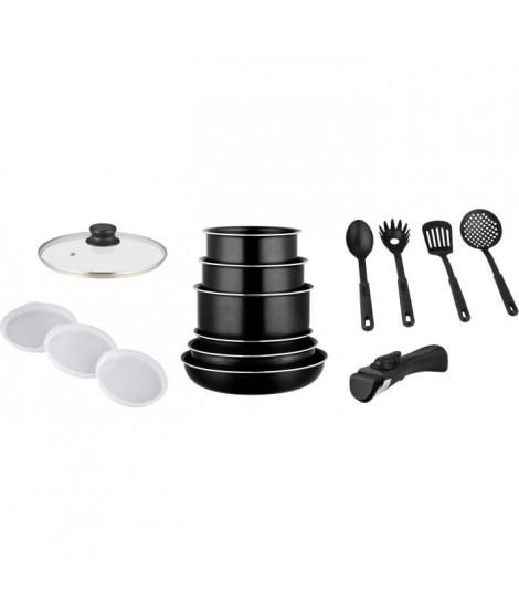 FAGOR FG1200 - Batterie de cuisine 15 pieces noir - Tous feux dont induction