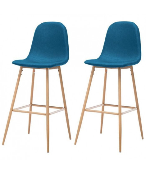 HARRI Lot de 2 tabourets de bar en métal - Tissu bleu - Style scandinave - L 45 x P 54 cm