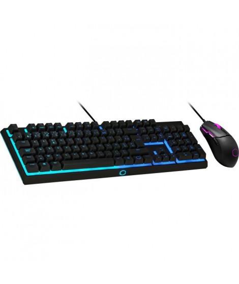COOLER MASTER MS110 - Kit Clavier/Souris (Semi-Mécanique Gaming RGB - AZERTY (PC/Consoles) - Souris (3200 dpi, RGB) - Noir