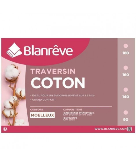 BLANREVE Traversin en coton - 90 cm - Blanc