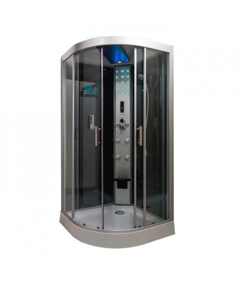 Cabine de douche hydromassante Skadi 1/4 cercle 100 cm - Montage sans silicone