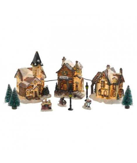 Figurine de Noël Coffret de 3 maisons lumineuses Blanc 11 pieces