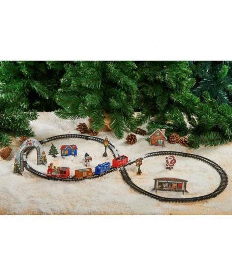 Train électrique du Pere Noël et décor 3D en PVC - 1 train / 3 wagons / 9 pcs décor 3D et 15 rails