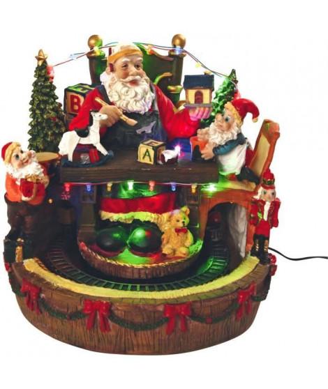 AUTOUR DE MINUIT Pere Noël sur chaise avec train animé - Musical - Boîte couleur