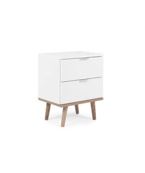 Chevet 2 tiroirs -  Décor chene sonoma Blanc - L 40 x P 30 x H 51,9 cm - GOTEBORG