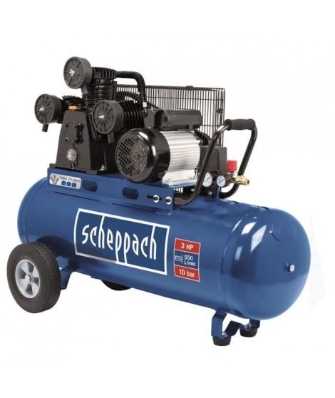 SCHEPPACH - Compresseur 3 cylindres 100L 10bar 2200W avec entraînement par courroie, moteur induction, deux manometres et deu…