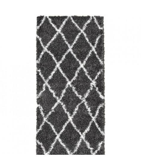 ASMA Tapis de couloir Shaggy - Style berbere - 80 x 140 cm - Gris - Motif géométrique