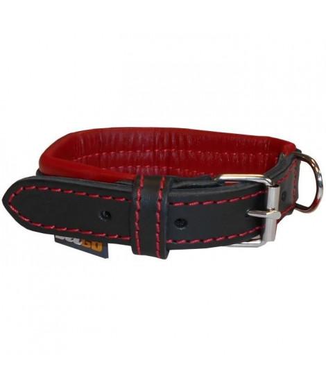 YAGO Collier en Cuir Noir et Rouge Souple et Réglable pour petit chien, taille S 27-35 cm