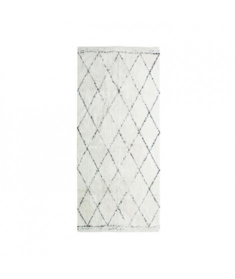 COTTON BERBERE Tapis de couloir - 70 x 110 cm - 100 % coton - Ecru naturel - Motif losange
