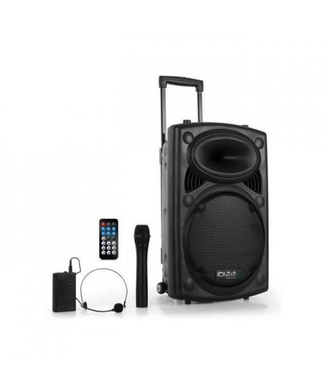 IBIZA PORT12VHF-BT Systeme de sonorisation portable autonome 12/30cm avec USB-MP3/REC/Bluetooth/VOX/2 MICROS VHF